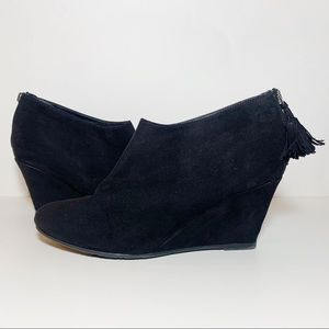 Black Faux Suede Pointed Toe Wedges